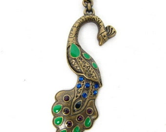 """Peacock Necklace / Metal Chain Necklace / Brass Peacock / Handcrafted / Pendant Necklace / 19"""" / Original / Enamel and Rhinestones"""