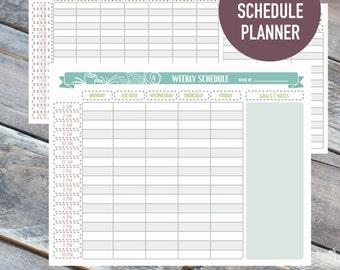 Printable Weekly Planner, Weekly Schedule, Weekly Agenda, Digital Weekly Planner 8.5x11, Letter
