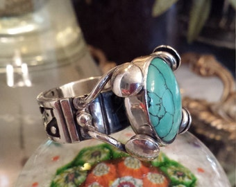 Sterling silver turquoise artist vintage ring