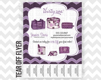 Thirty-One Tear Off Flyer Printable Direct Sales MLM Chevron