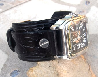 Mens Leather cuff watch,  Steampunk cuff watch, Skeleton Mechanical Leather Stainless Steel Wrist Watch, Hand winding