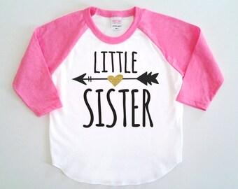 Little Sister Poly Cotton 3/4 Raglan Sleeve Baseball Shirt - Baby, Toddler or Kid Shirt