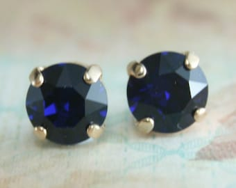 Crystal stud earrings,stud earrings,blue crystal earrings,navy earrings,navy blue,swarovski,swarovski dark indigo,navy blue wedding jewelry