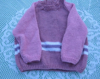 Vintage Gorgeous Pink Jumper Hand Knitted for a Girl Aged around 1-2  years.