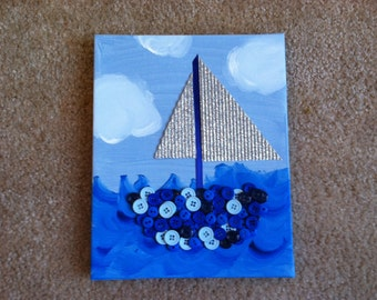 buttons on canvas- sailboat painting