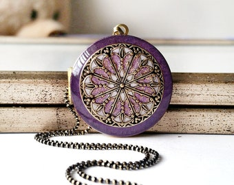 Purple Locket Necklace • Mothers Day Gift • Personalized Jewelry • Womens Jewelry • Gift For Women, Mom, Grandmother • Family Photo • Locket