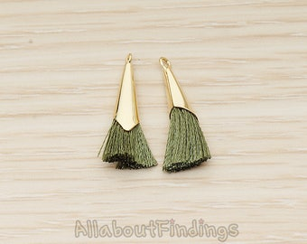PDT1259-01-G-OG // Olive Green Silk Gold Plated Simple Corn Top Small Tassel Pendant, 2 Pc