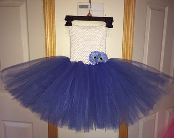 White & Periwinkle Tutu Dress