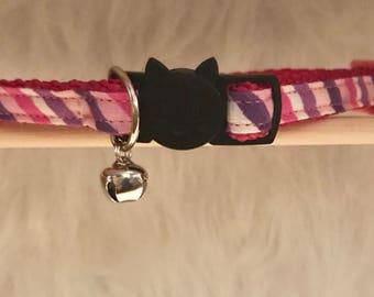 "Striped Cat Collar- ""Girly Pizzazz""- Breakaway Cat Collar / Kitten Collar"