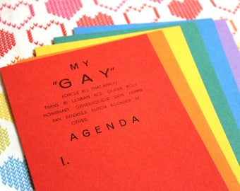 "My ""Gay"" Agenda Postcards"