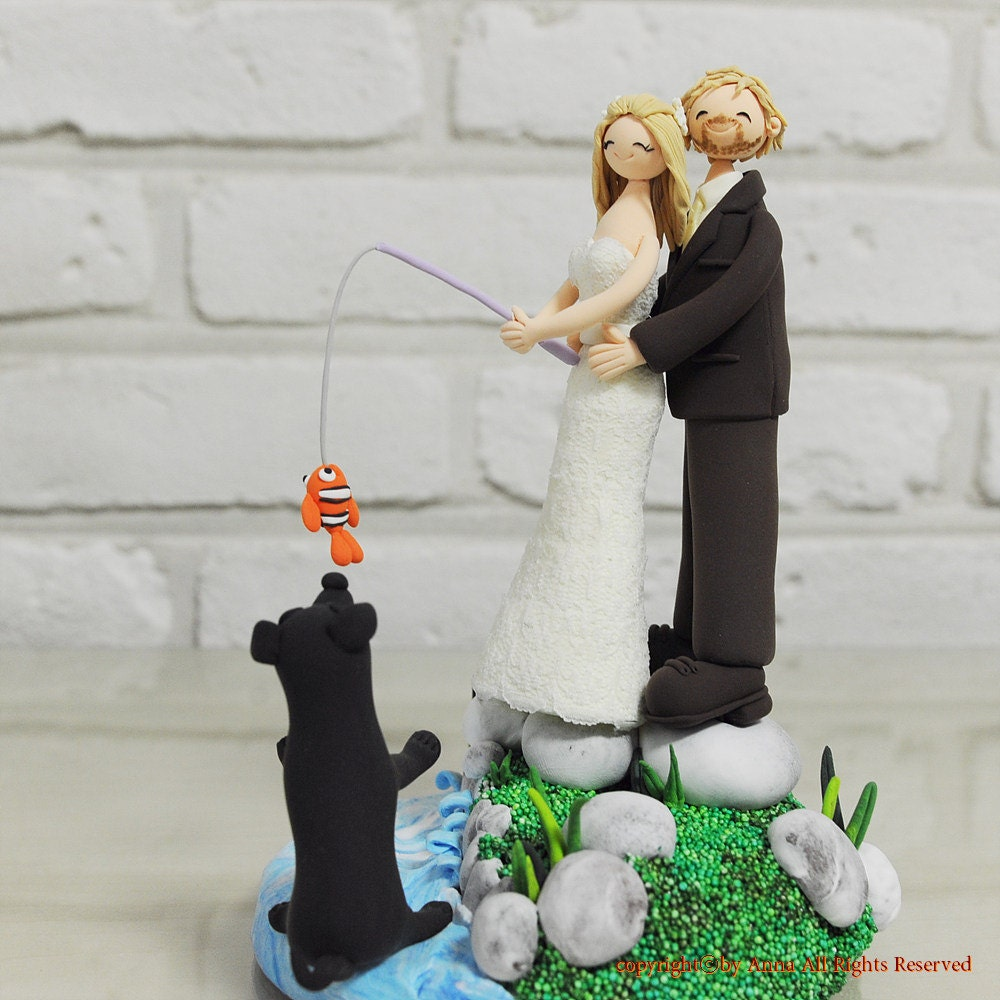 Fishing at Beach Lake theme custom wedding cake topper