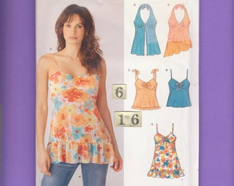 Ruffled, Empire Waist Halter Top Sewing Pattern/ New Look 6386 Womens loose spaghetti strap summer top, UnCut/ Size 6 8 10 12 14 16