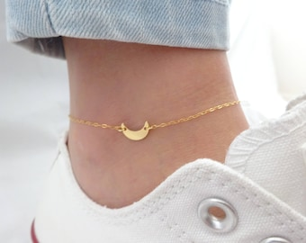 Moon anklet, Sideways moon anklet, crescent moon anklet, celestial jewelry, beach wedding jewelry, Bridesmaid gifts