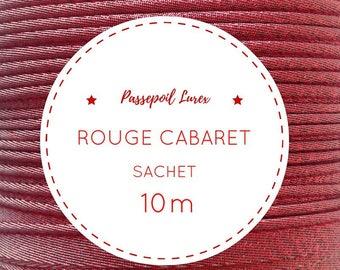 10 m red lurex piping bag