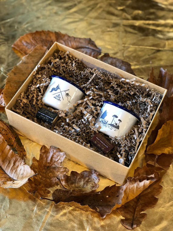 Espresso Gift Set - Etched Enamel Mugs