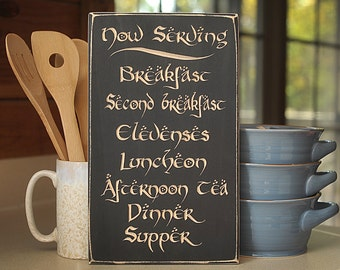 Hobbit Daily Meals Engraved Solid Wood Sign / Plaque.  Very nice gift item for Lord of the Rings and Hobbit fans!
