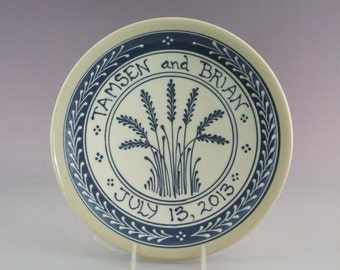 """Ceramic Personalized Wedding Plate or Baby Child Plate Blue Wheat on White background   Made to Order 9"""" diameter - Stoneware Pottery"""