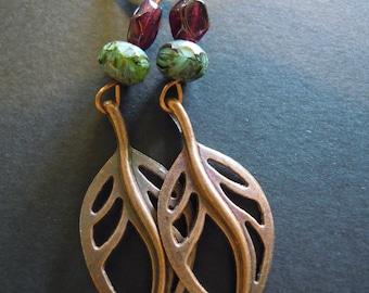 Copper Garnet Zoisite Stone Leaf Lever Back Earrings - Handmade
