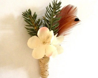 Evergreen and Feather Boutonniere