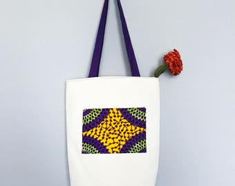 INYENE tote bag in denim and african print fabric, summer totes, beach bag, beach tote