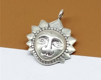 4 Karen Hill Tribe Silver Sun Charms, Higher Silver Content than Sterling Silver Sun Charms - TR831