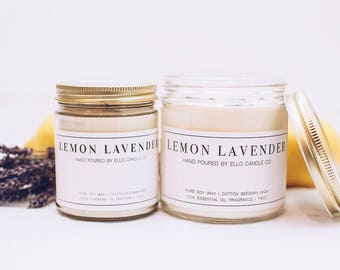 Essential Oil Soy Candle - Lemon Lavender