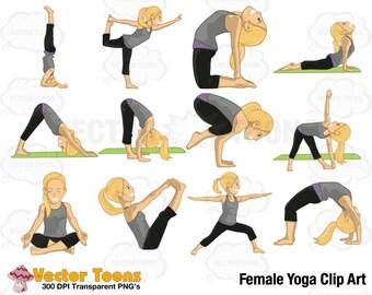 Female Yoga Clip Art, Digital Clipart, Digital Graphics