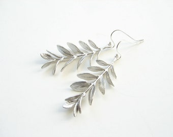 Silver Willow Branch Dangle Earrings. Matte Silver Colored Delicate Branch with Sterling Silver Ear Wire. Simple Everyday