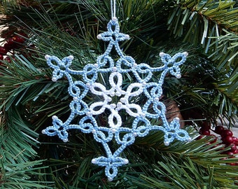 Beaded Tatted Star Ornament - Lace Christmas Snowflake - Holiday Gift - Blue White Tatting - Tree Decorations - Handmade Decor READY TO SHIP