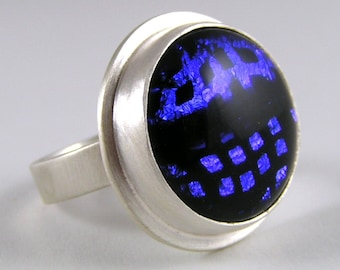 Big Blue Ring of Dichroic Glass in Sterling Silver Size 7