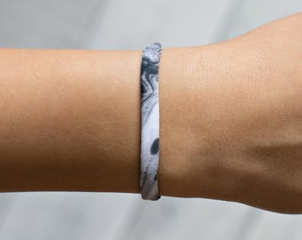 Stackable Bracelets, Black Bracelet, Marble Jewelry, Gift For Her, Stretch Bracelet, Womens Bracelet, Stocking Stuffer