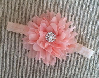 Peach Baby Headband, Baby Headband, Elegant Baby Headband, Peach Headband, Valentine's Day Baby Headband, Crystal Baby Headband