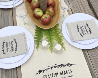Thanksgiving Table Runner Autumn Table Runner Fall Table Runner Grateful  Hearts Gather Here Cotton A Canvas