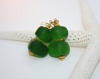 Sea Glass Jewelry Hawaiian Jewelry Hawaii Jewelry Sea Glass Earrings Seaglass Beach Glass Earrings Beach Jewelry Green Earrings Emerald  088