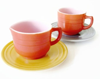 Little Hostess Party Child's Dishes HAZEL ATLAS PLATONITE  Moderntone Cup, Creamer and Saucers