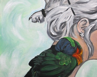 Colorful,  Modern, Painting, Bird, Parrot,  Bird Art, Green, 11 x 14 print from original oil painting by Amy Fulton