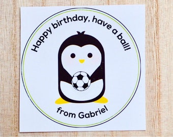 Personalized soccer gift sticker labels for kids: set of 6