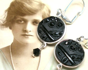 Lacy Antique BUTTON earrings, Victorian black glass with ribbon. One of a kind button jewellery.