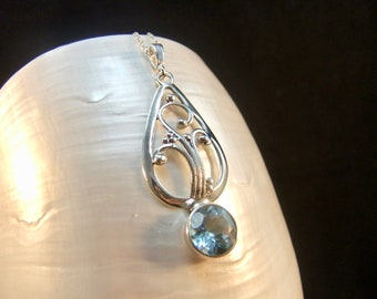 Blue Topaz Sterling Silver Necklace Pendant