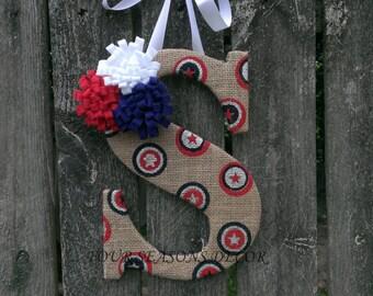 Patriotic Burlap Monogram Door Hanger, Summer Burlap Monogram Wreath, Fourth of July Burlap Monogram, Burlap Letter, Burlap Letter Wreath