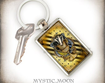 Keychain / Loyalty / Potter Gift Art / Badger /Nerd Gifts  / Key Chain -/Purse Charm  / Teacher Gift / School of / Magic /Wizardry / HP