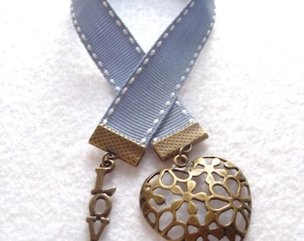 Bookmark, Ribbon Bookmark, Filigree Heart and Love charm Blue, Gift  for Book lover, Bookworm, Thank you gift, teacher, Valentine's day gift