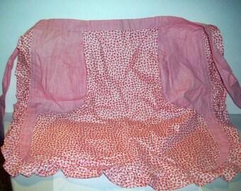 Vintage 1950 Handmade Apron Pink Polished Cotton 2 Pockets  bx10  79973747