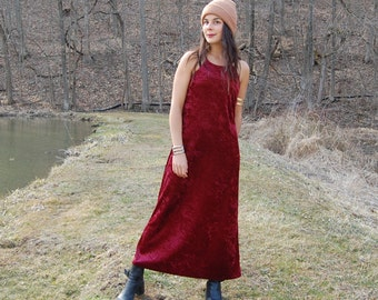 Vintage Crushed Red Velvet Maxi Dress with Spaghetti Straps  Small Medium
