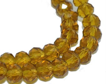 Amber 30 faceted 6x4mm glass abacus beads