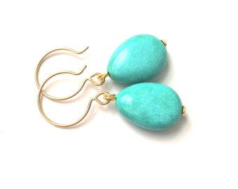 Turquoise Gold Earrings, Turquoise teardrop Gold Earrings