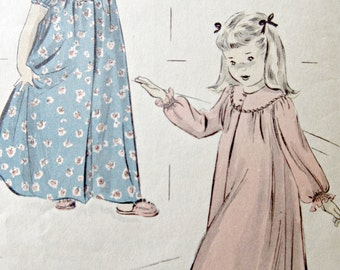 Vintage Advance 4831 Sewing Pattern, Little Girls Nightgown, Nightie Pattern, 1950s Sewing Pattern, Chest 24, Child's Nightgown Pattern