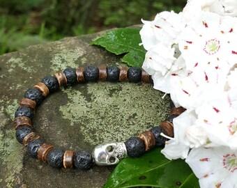 Skull Lava Rock Stretch Energy Bracelet Yoga Mala Beads Wrist Coconut