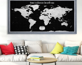 World map with pins etsy travel map for push pins map with cities push pin personalized map wedding gift for groom gumiabroncs