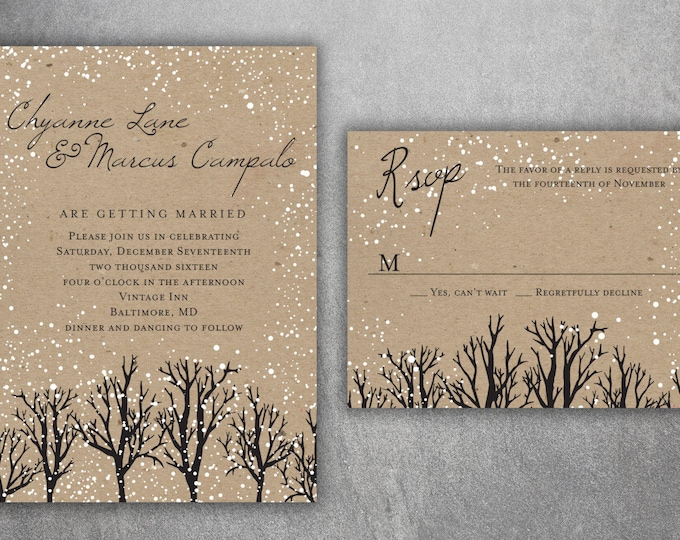 Winter Wedding Invitations, Snow Wedding Invitation, Woodsy, Rustic, Tree, Woods, Kraft, December, January, Christmas Themed Invites, Rustic